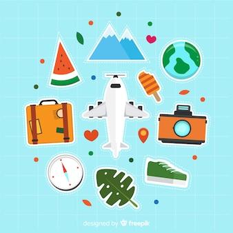 Collezione di elementi piatti da viaggio