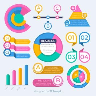 Collezione di elementi piatti infografica