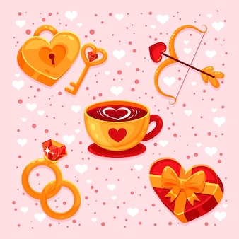 Collezione di elementi piatti per san valentino