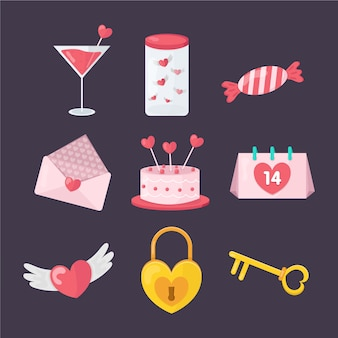Collezione di elementi piatti san valentino dolci e regali