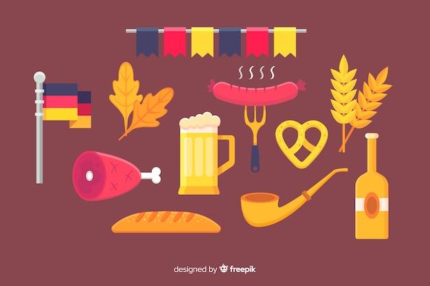Collezione di elementi più oktoberfest design piatto