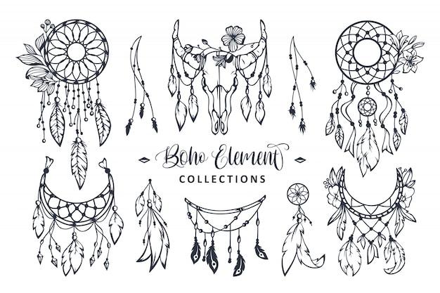 Collezione di elementi stile boho disegnati a mano