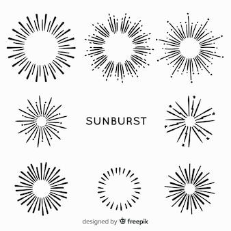 Collezione di elementi sunburst disegnati a mano