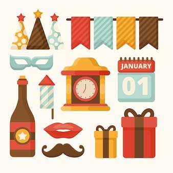 Collezione di elementi vintage festa di capodanno