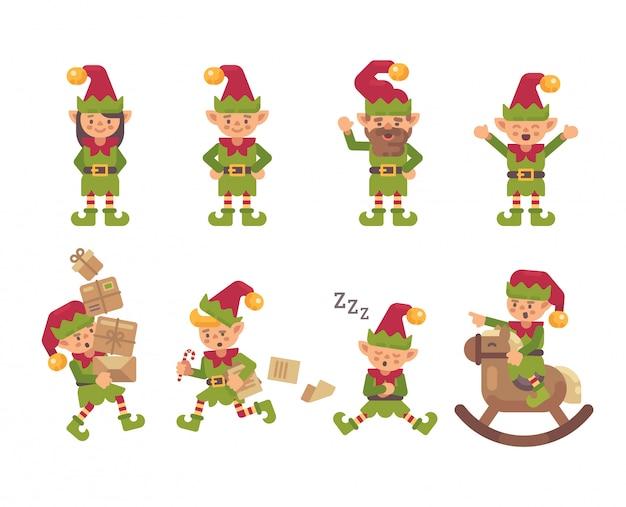 Collezione di elfi di natale.