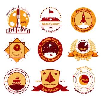 Collezione di emblemi colorati spazio