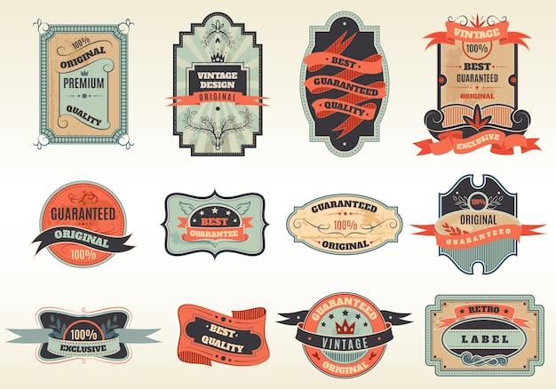 Collezione di emblemi di etichette retrò originali