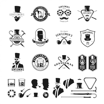 Collezione di emblemi, etichette, distintivi ed elementi di design vintage gentiluomo. stile monocromatico