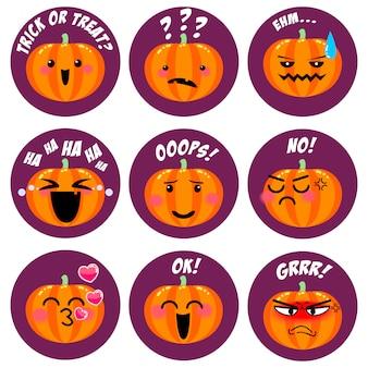 Collezione di emoticon di halloween zucca carina