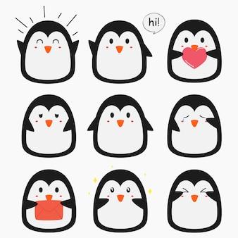 Collezione di emoticon simpatico pinguino vettoriale
