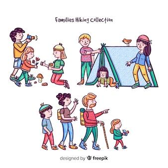 Collezione di escursionismo familiare disegnato a mano