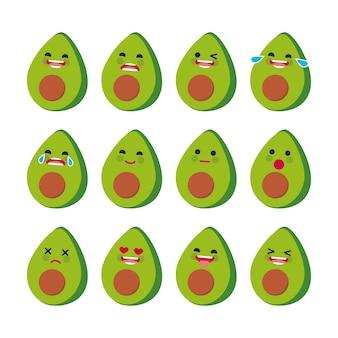 Collezione di espressioni facciali di avocado