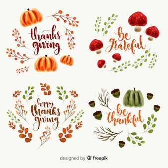 Collezione di etichette acquerello giorno del ringraziamento