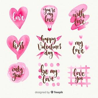 Collezione di etichette acquerello giorno di san valentino
