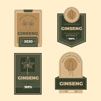 Collezione di etichette barattolo di ginseng