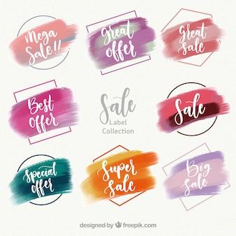 Collezione di etichette colorate dell'acquerello