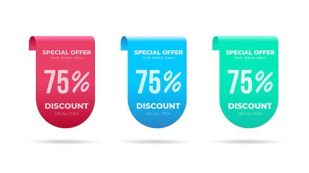 Collezione di etichette con prezzi scontati per offerte speciali