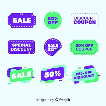 Collezione di etichette creative coupon in vendita