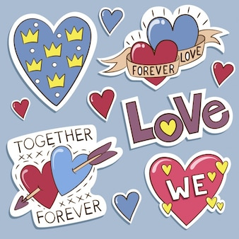 Collezione di etichette d'amore
