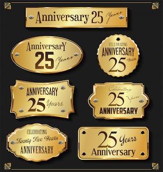Collezione di etichette d'oro anniversario elegante