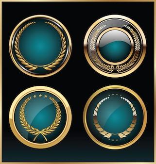 Collezione di etichette d'oro retrò di qualità premium