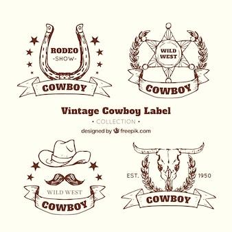 Collezione di etichette da cowboy marrone