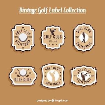 Collezione di etichette da golf in stile vintage