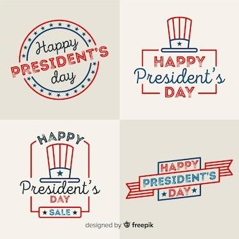 Collezione di etichette del giorno del presidente