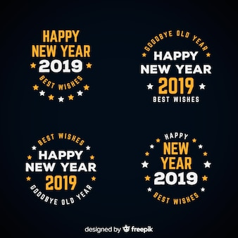 Collezione di etichette del nuovo anno 2019