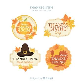 Collezione di etichette del ringraziamento