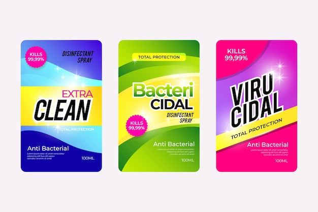 Collezione di etichette detergente viricida e battericida