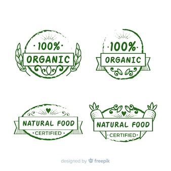 Collezione di etichette di alimenti biologici disegnati a mano