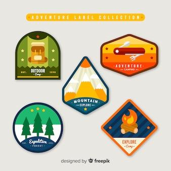Collezione di etichette di avventura