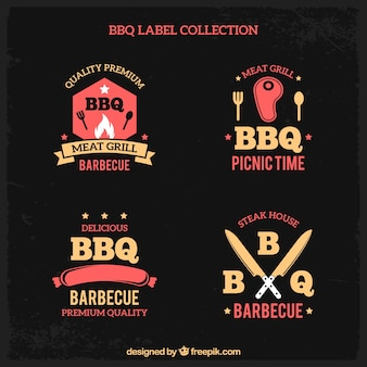 Collezione di etichette di barbecue in stile piatto