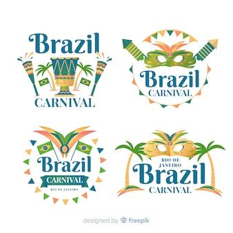 Collezione di etichette di carnevale brasiliano