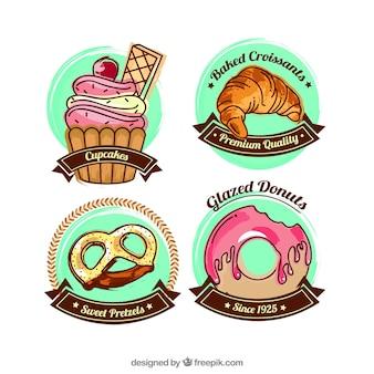 Collezione di etichette di cibo dolce con design piatto