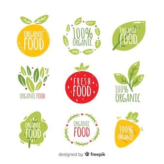 Collezione di etichette di cibo naturale disegnato a mano