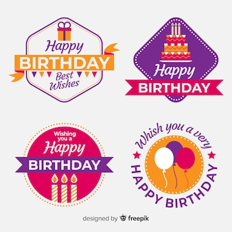 Collezione di etichette di compleanno