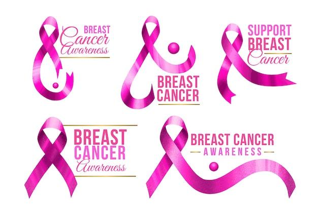 Collezione di etichette di consapevolezza del cancro al seno