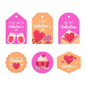 Collezione di etichette di design piatto san valentino