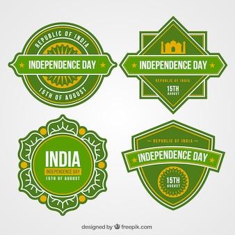 Collezione di etichette di festa dell'indipendenza indiana