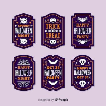 Collezione di etichette di halloween design piatto
