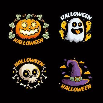 Collezione di etichette di halloween disegnata a mano