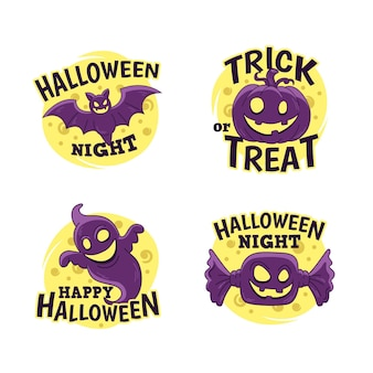 Collezione di etichette di halloween disegnati a mano