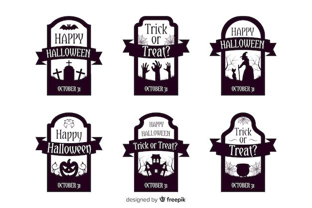 Collezione di etichette di halloween in design piatto