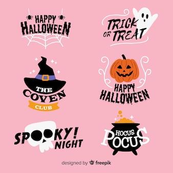 Collezione di etichette di halloween spettrale disegnata a mano