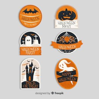 Collezione di etichette di halloween su design piatto