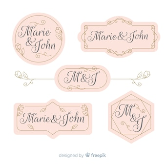 Collezione di etichette di matrimonio
