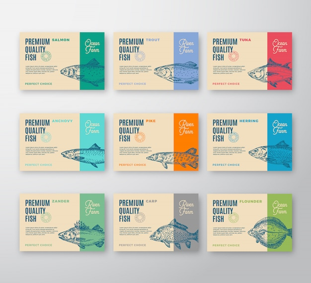 Collezione di etichette di pesce di qualità premium. confezione astratta o etichetta. tipografia moderna e layout di sfondo sagome di pesci disegnati a mano con ombre morbide.