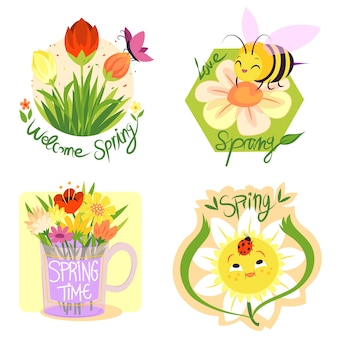 Collezione di etichette di primavera design disegnato a mano